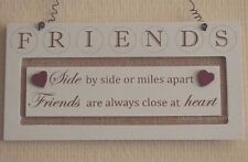 Wall Plaque Friend Side By Side Friends Always Close Sign Cream Wood 25cm F1356H