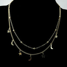 And Silver Plated For Women Best Gift Multilayer Moon Star Pendant Necklace