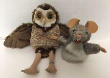 (2) Folkmanis BURROWING OWL & LITTLE MOUSE Plush PUPPET Stuffed Animal Lot