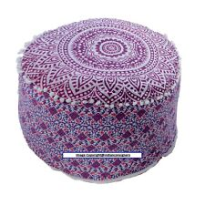 Beautiful Purple Color Pouf Mandala Design Ottoman Cover Indian Footstool Cover