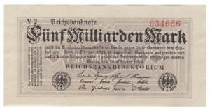 Five Milliards Marks German banknote issued in 20.10.1923 V2 xf
