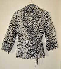 DKNY Sheer Front Wrap Blouse  Animal Print Black and Ivory 100% Silk Size 6