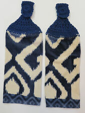 Crocheted top kitchen towels- Navy and Beige Geometric Towels with navy tops