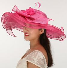 Kentucky Derby Church Tea Wedding Hat Sinamay Extra Wide 3 Layer Hot Pink