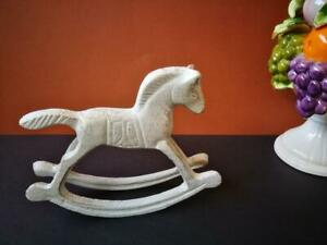Rustic Cast Iron White Rocking Horse Figurine 16cm Home Garden Decor