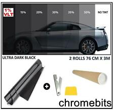 Tönungsfolie 76 x 6m Sonnenschutzfolie dunklen schwarz 1% Autofolie Fensterfolie