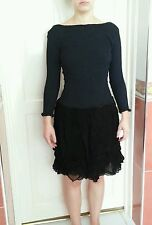 Black DRESS Party/Cocktail size 6/8/10 Stretch Fabric Long Sleeves Low Back