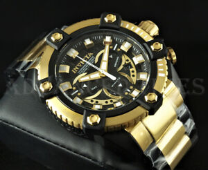 Invicta 63mm GRAND OCTANE SWISS Chronograph Black & Gold Two Tone SS Watch NEW