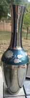 "Vintage Large Stainless Steel Vase with Green Painted Flowers 15"" Tall 2.5 Lbs"