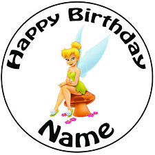 "Personalised Birthday Disney Tinker Bell Round 8"" Easy Precut Icing Cake Topper"