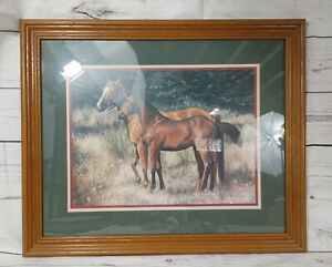 """Home Interior HOMCO Horses 22.5"""" x 18.5"""" Wood Frame Glass Picture By Robin Brown"""