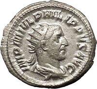 Philip I 'the Arab' Silver  Ancient Roman Coin Annona Cult Grain supply i52046