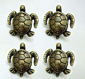 """4 PCS ANTIQUE style TURTLE Cabinet Door solid Brass KNOB Drawer Pull 2"""" B"""
