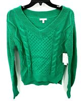 Abound Nordstrom Womens XS Sweater Green Cable Knit V-Neck Pullover NWT