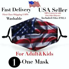 American Flag Face Mask, Mask, Masks, Washable, included 2 filters pm 2.5