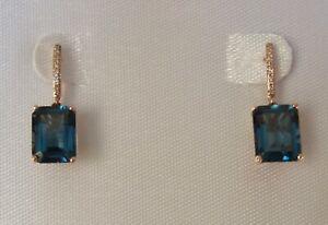 London Blue Topaz & Diamond Accent Drop Earrings in14K Rose Gold