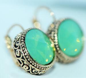 Vintage Big Green Crystal 15mm Womens Hoop Earrings Dangle Earings Gold Jewelry