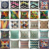 """18"""" Boho Geometric Vintage Flower Linen Cotton Pillow Case Cushion Cover Decor"""