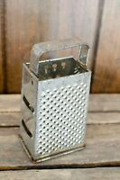 Vintage Box Hand Grater Cheese Gray Metal Tin 4 sided Shredder  Rusty primitive
