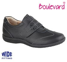 SALE LADIES LEATHER Wide EEE Fit Touch Fastening Shoes  Black Size 3 4 5 6 7 8 9
