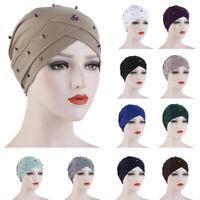 Indian Women Wrap Hair Loss Cover Chemo Cap Criss Cross Beads Turban Hijab Hat