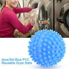4x Blue PVC Reusable Dryer Balls Laundry Washing Drying Fabric Softener Ball GL