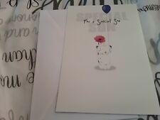Son Birthday Card NEW - bear, flower