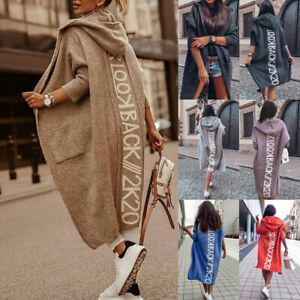 Womens Long Sleeve Letter Hooded Knitted Cardigan Open Front Sweater Jacket Coat