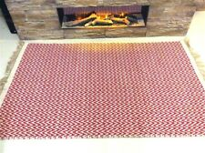 RED CHEVRON Handmade Recycled Cotton and Jute Washable ZIG ZAG KILIM RUGS 40%OFF
