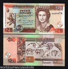 BELIZE $20 P69A 2003 QUEEN JAGUAR FAUNA MONKEY UNC CARIBBEAN GB UK CURRENCY NOTE