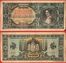 UN BILLET DE BANQUE HONGRIE CIRCULE   Pk N° 127 - 100000 Pengo Budapest 1946