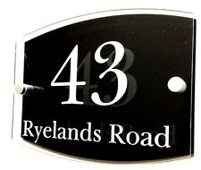 House number with street name plaque, acrylic engraved inscription,