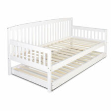 Wooden Day Bed Sofa Frame with Single Trundle Timber Slats - White