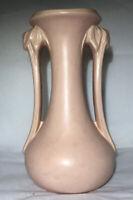 McCoy Pottery Vase Antique Vintage Rare Matte Pink Leaf Handled Early 1940s