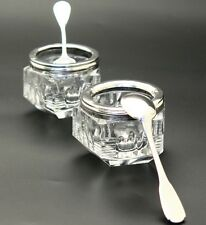 Antique Vintage Art Deco French Sterling Silver & Crystal Open Salt Cellars Pair