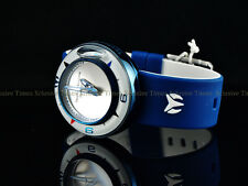 NEW! TechnoMarine Men Fire Blue Doom AquaSphere Blue Silicone Silver Dial Watch