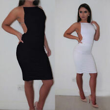 Women's Sleeveless Crystal Strap Bandage Bodycon Backless Party Club Night Dress