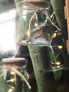 Garden String LED Lights 20 Jam Jar Retro Filament Lamps Dusk Dawn Timer 110909