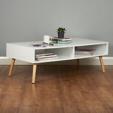 Roost White Coffee Table with Storage Shelf Nordic Lounge/Living Room Furniture