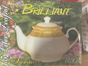 Glass /   porcelain   Tea Pot  Kettle  White with gold design 1.5 L