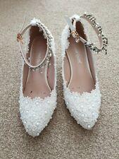 Wedding Wedges Size Euro 35 Diamante, Pearl