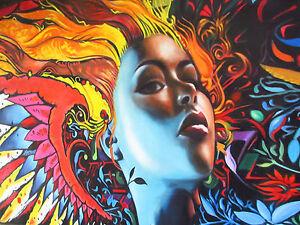 A0 SIZE CANVAS PRINT painting Phoenix Goddess  modern  GRAFFITI STREET ART