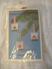 NEW Astor Place Cross Stitch Kit  Perforated Paper Christmas Baskets Ornaments