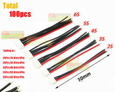 100X Male 10CM 2-6S Balance Charger Battery Cable 22# Wire JST XH Connector Plug