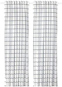 IKEA Rosalill 1 pair of curtains blue white squares  290cm x 250cm