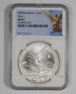 MS67 2002 Mexico 1 Onza Silver Libertad - Graded NGC *952