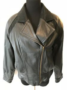 Wilsons Black Genuine Leather Moto Jacket Womens size M Thinsulate Zip Liner P0