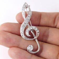 #P556A High Quality Big 5cm Treble Clef Music Note Scarf Pin Brooch Stylish New