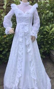 Vintage 70's  Wedding Dress Prairie Edwardian White Lace Ruffles Train 6