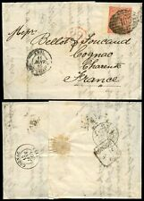 Gb Qv 1865 Letter London Twin 46 Cancel Sg81 Pg Wing Margin to Cognac.cv £250